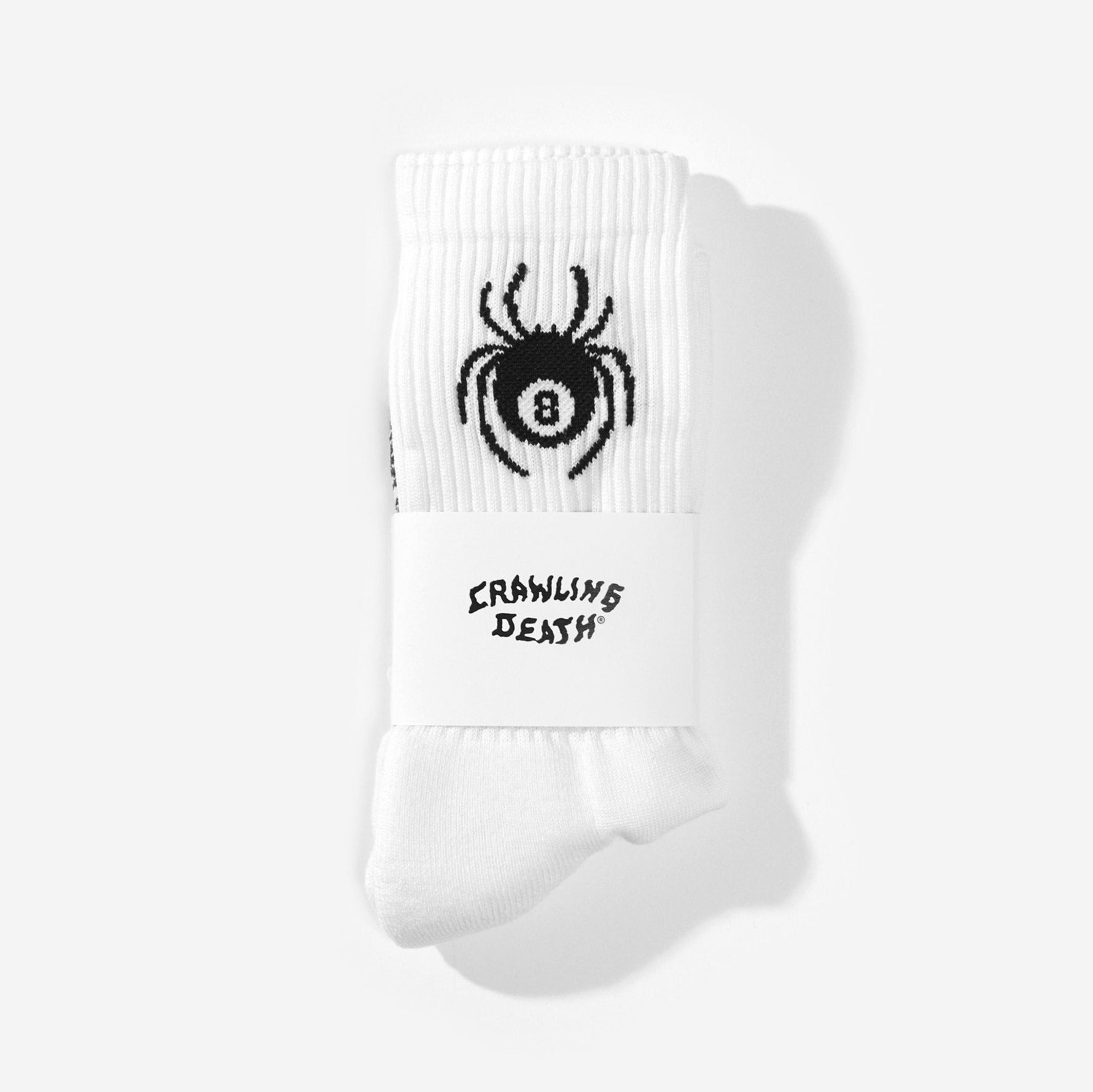 8-Ball Spider Socks - White
