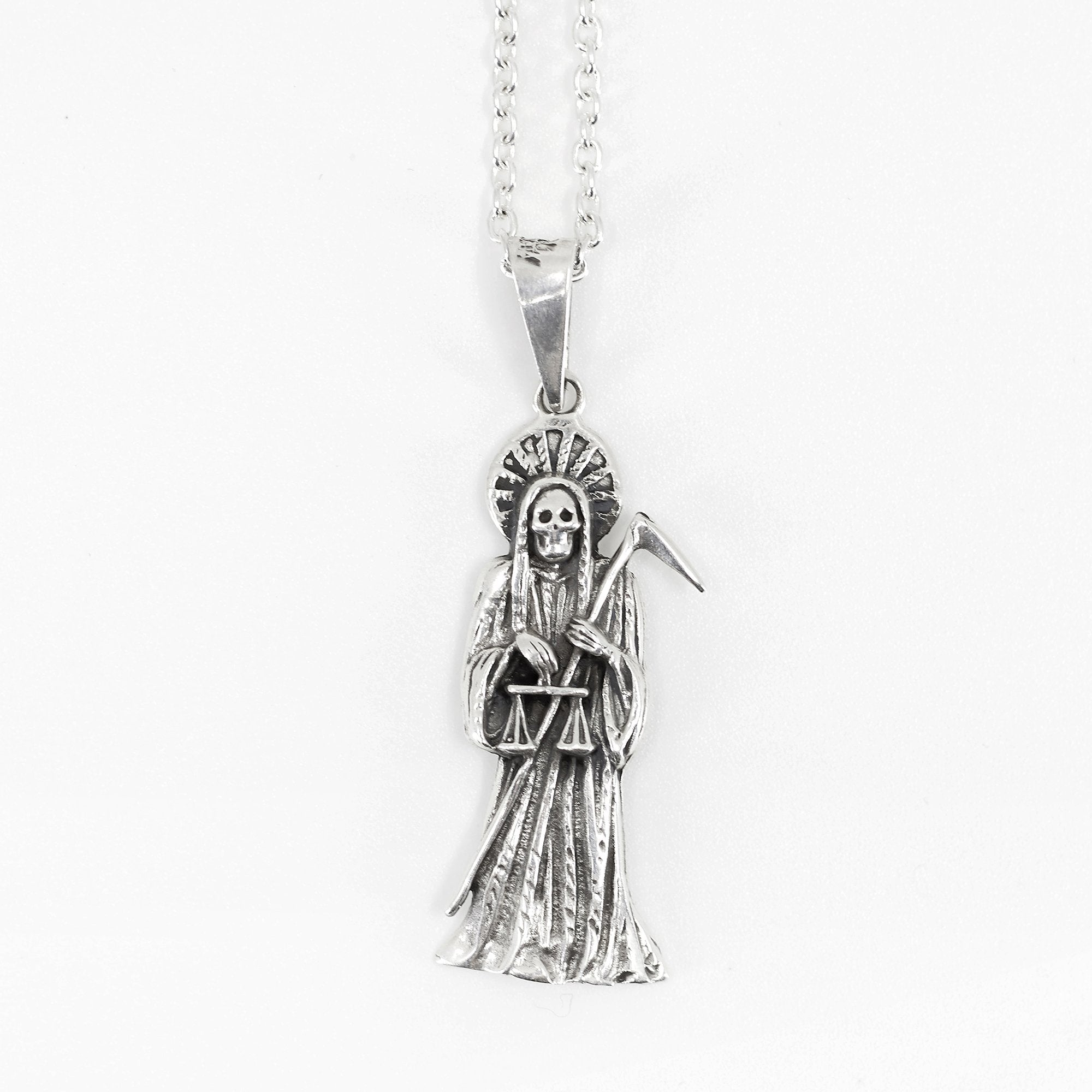 Holy Death Silver Necklace