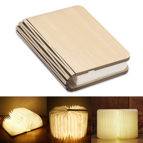 Wooden Book Lamp Portable USB Rechargeable LED Magnetic 3 color Dimmable Foldable Night Light Desk Lamp