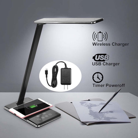 LED Table Lamp Light Dimming Desk Lamp Wireless Charger Pad Fast Cell Phone Charging Holder Stand Foldable Book Light
