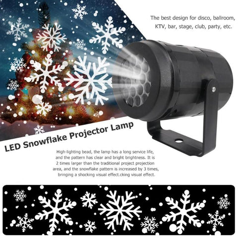 Snowflake LED Projector Lights Festival Holiday Home Party Decor Night Lamp Snow Projector Light