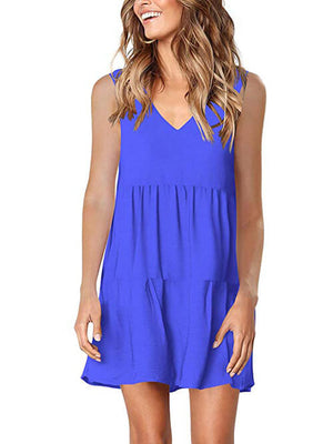 womens blue v neck dress