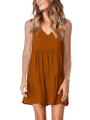 womens brown v neck dress