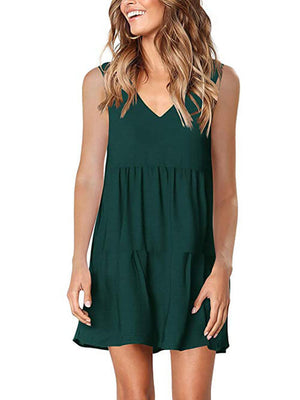 womens dark green v neck dress