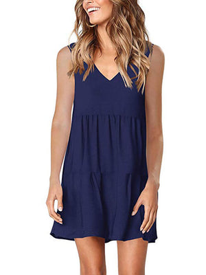 womens navy blue v neck dress