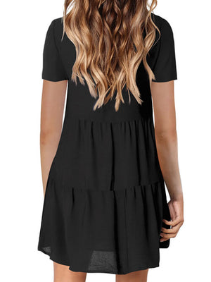 black v neck dress for women