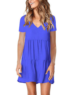 blue v neck womens dress