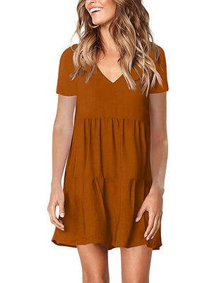 brown v neck womens dress