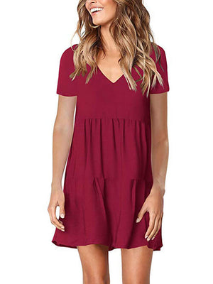 burgundy v neck womens dress