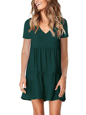 dark green v neck womens dress