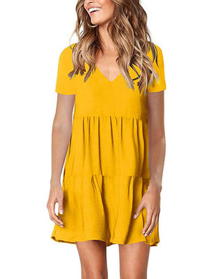 ginger yellow v neck womens dress