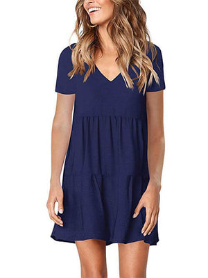Short Sleeve V Neck Swing Shift Dress