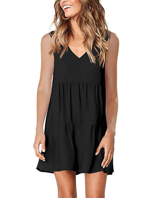 womens black v neck dress