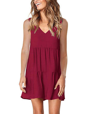 womens burgundy v neck dress