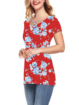 red printed tshirts for women
