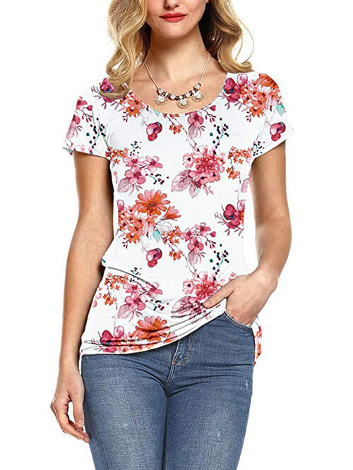 white printed tops for women