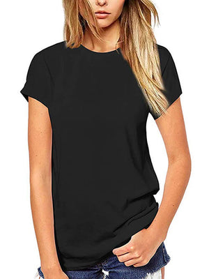 womens solid black tops