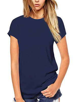 womens solid navy blue tops