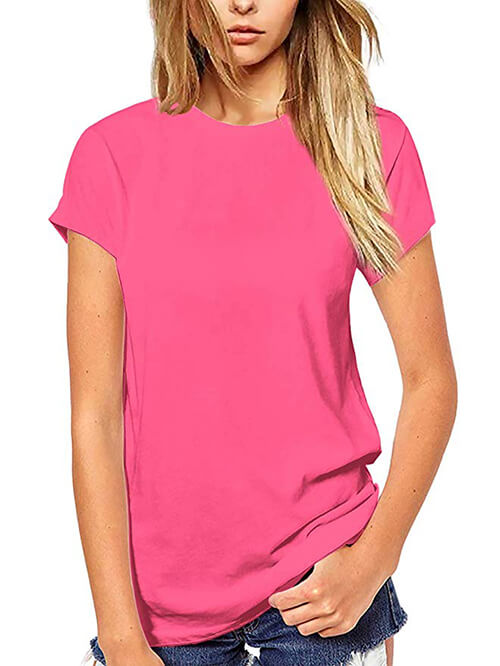 womens solid pink tops