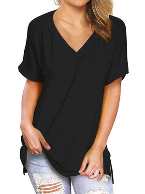 black v neck women tops