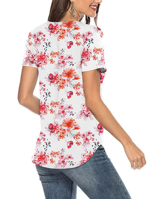 floral red tshirts