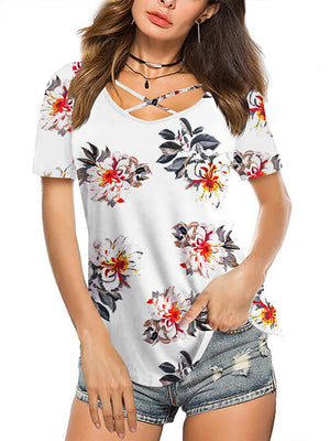 floral white tees