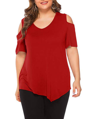 women's red cold shoulder tshirts