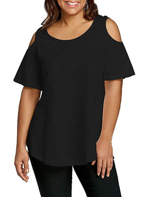 black cold shoulder women tees