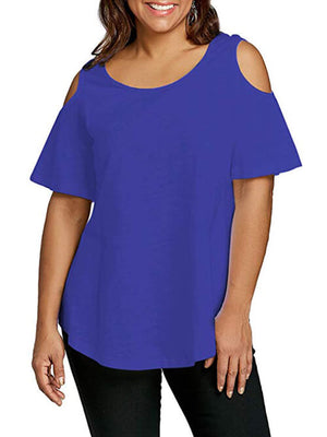 blue cold shoulder women tees