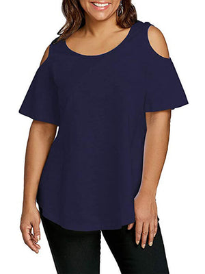 royal blue cold shoulder women tees