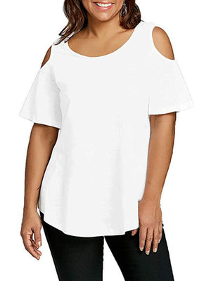 white cold shoulder women tees