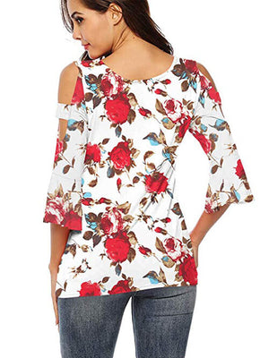 red floral tshirts for women