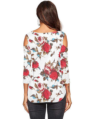 womens floral red tees