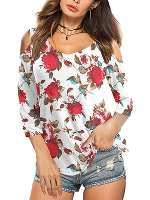 womens floral red tops