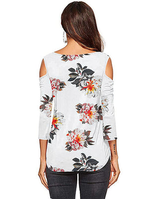 womens floral white tees