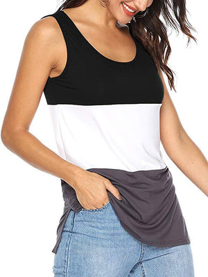 women's black color block tshirts