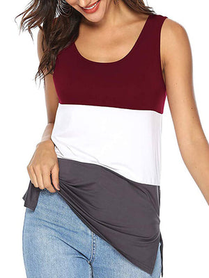 women's burgundy color block tops
