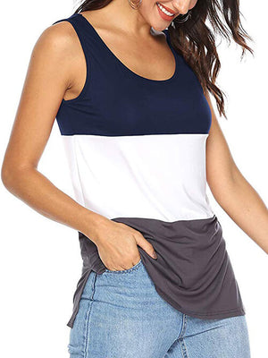 women's navy blue color block tshirts