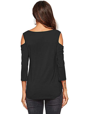women's summer  black cold shoulder tees