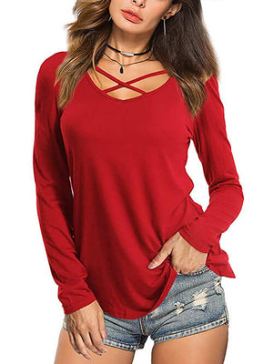 womens red criss cross blouse