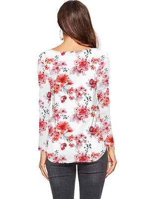 floral red long sleeve blouses