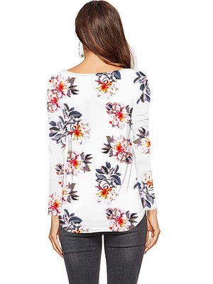 floral white long sleeve blouses