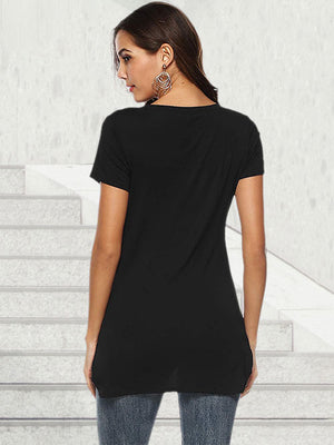 black scoop neck shirts for women