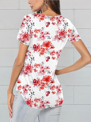 womens printed floral red tops