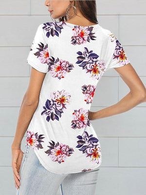 womens printed floral white tops