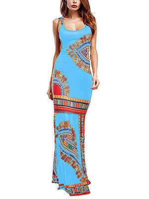 Women Lake Blue Floral Sleeveless Long Dresses