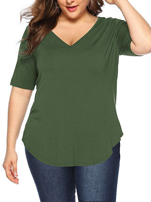 Army Green Womens Blouses Plus Size V Neck
