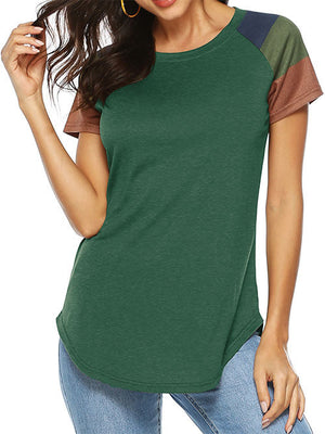 Army Green Round Neck Blouse Tops for Women