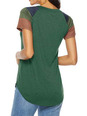 Army Green Round Neck Patchwork T Shirts