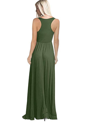 Round Neck Sleeveless Maxi Dresses Olive Green